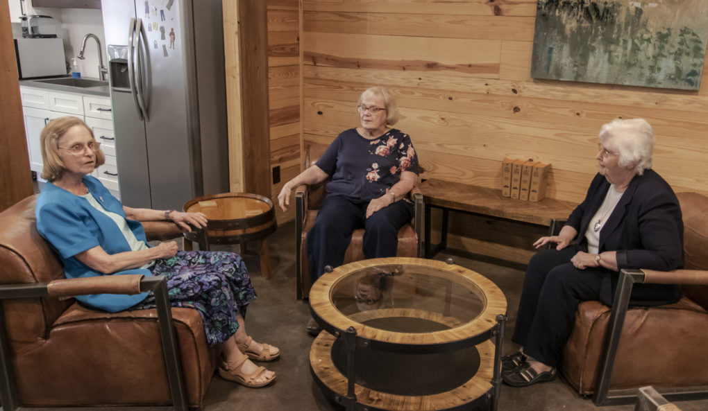 Sister Ellen Kehoe, Sister Loretta Spotilla and Sister Marge Manning dialogue at Holy Spirit Parish/UK Newman Center about their ministries and experiences in evangelization. Photo: Dcn Skip Olson